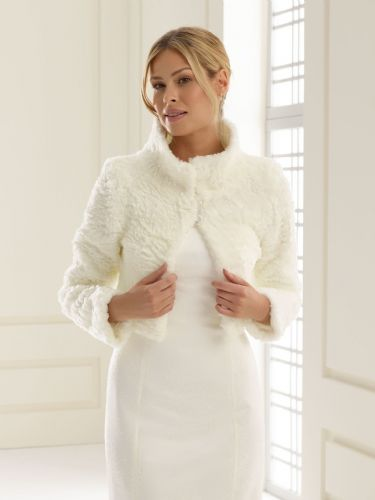 Faux Fur Bridal Bolero with long sleeves, Wedding Jacket
